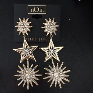 Noir Starbursts & Crystal Star Fab Statement Earri